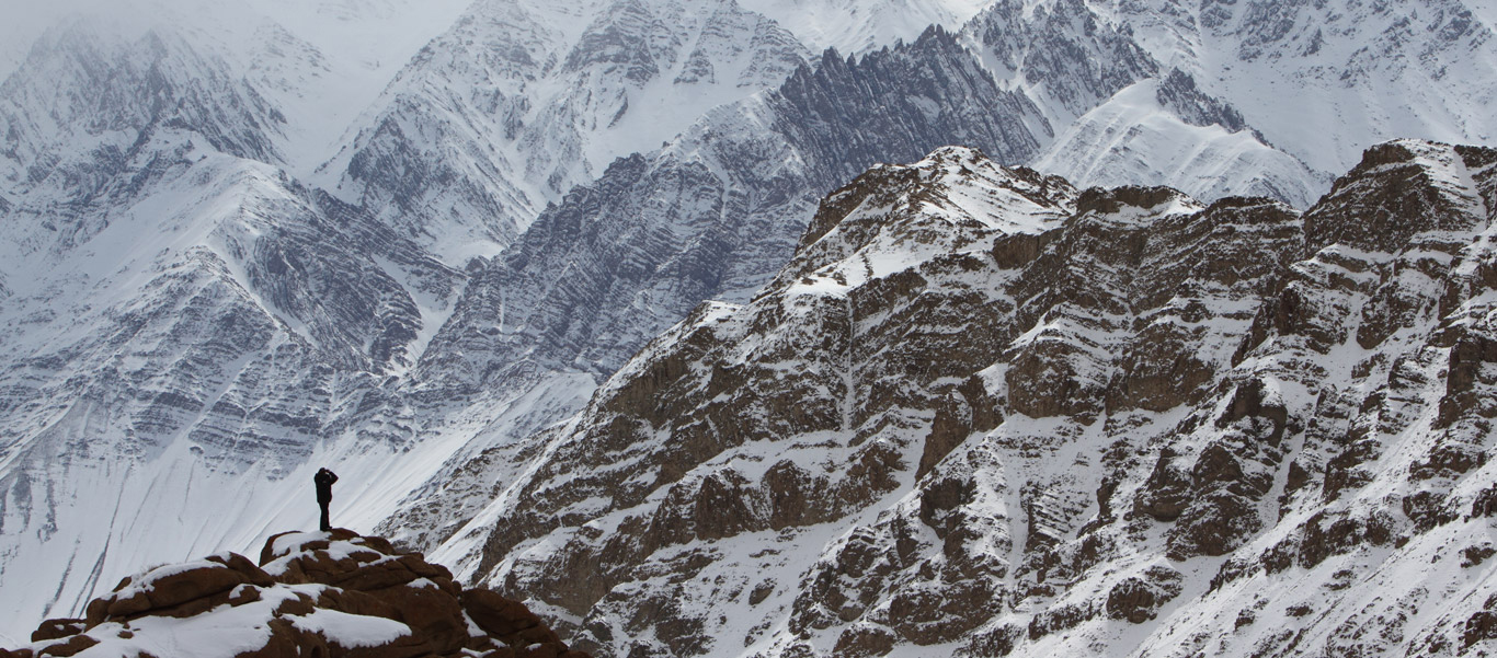 Himalaya tours slide showing the search for Snow Leopards near Ladakh, India