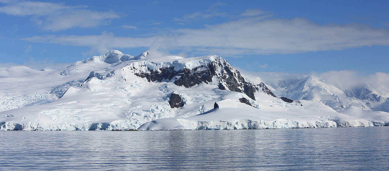 Antarctica, South Georgia and Falklands Small Ship Cruise photo showing snow-covered peaks in Antarctica
