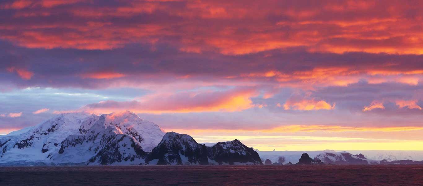 Antarctica, South Georgia and Falklands luxury cruise slide of Antarctica sunset