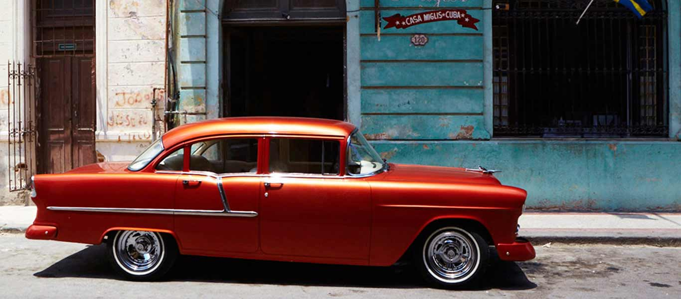 Cuba tour photo shows red car in Havana