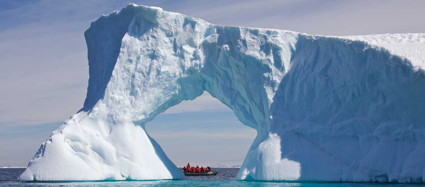 Antarctica small ship cruise with zodiacs looking at icebergs