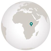 Graphic of globe with marker on Uganda