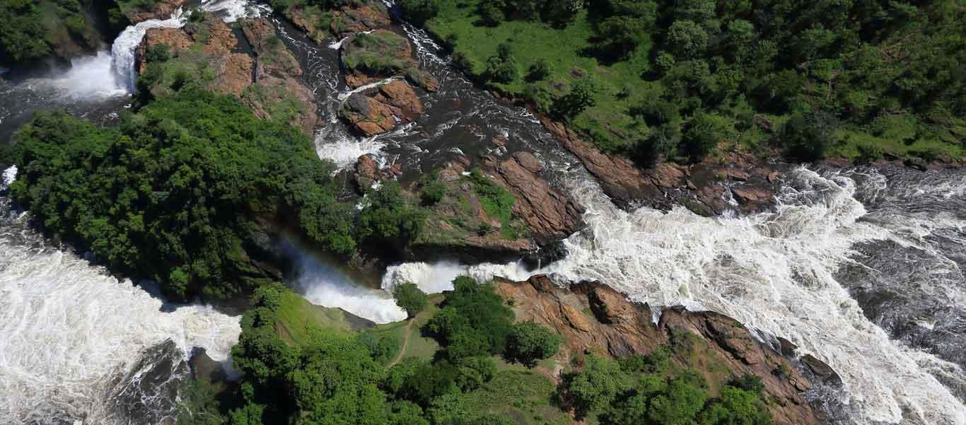 Uganda expedition aerial photo of Murchison Falls