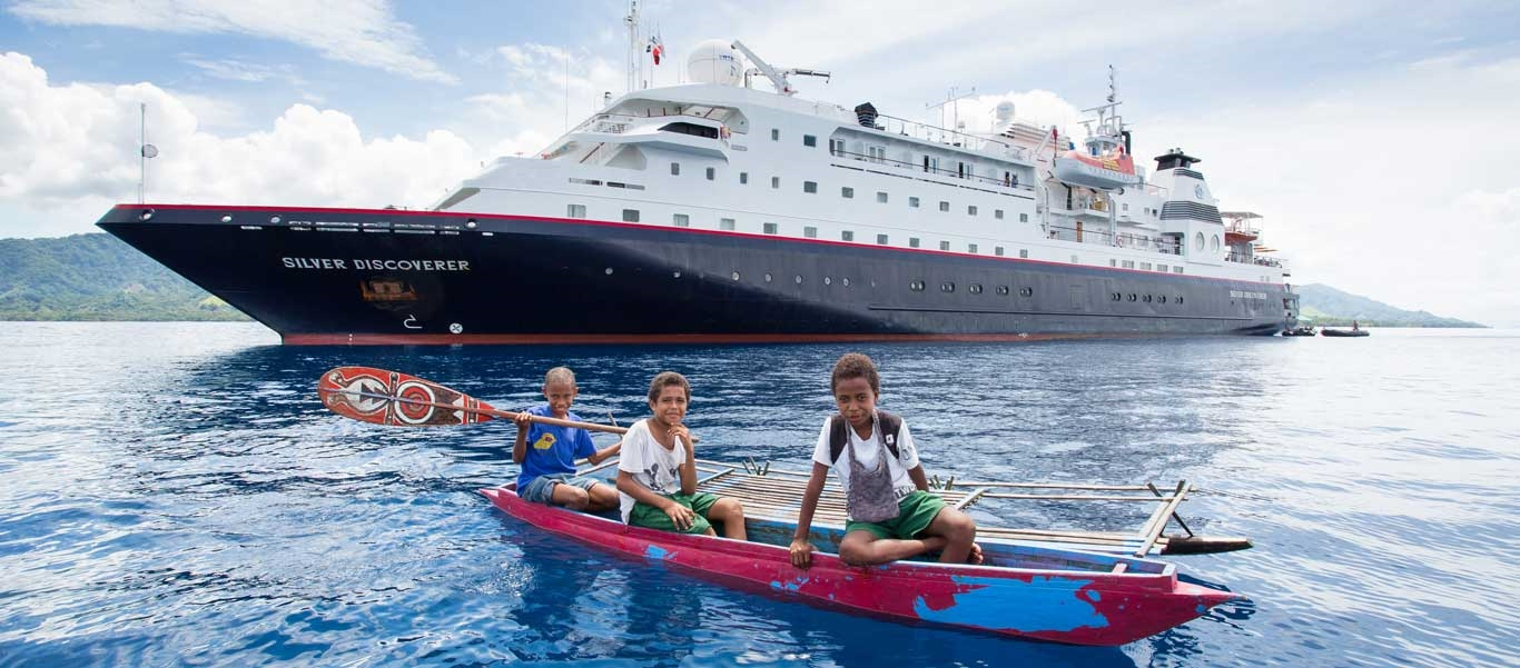small ship south pacific cruises image of Silver Discoverer with children