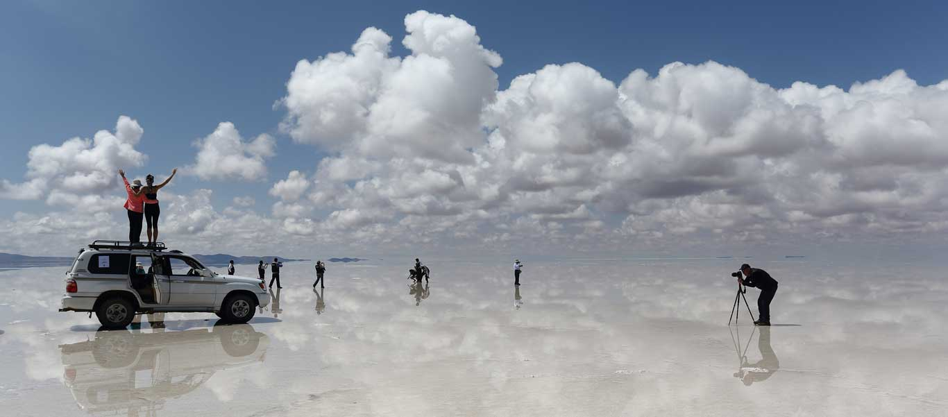 Salt flats Bolivia photo of sky mirror