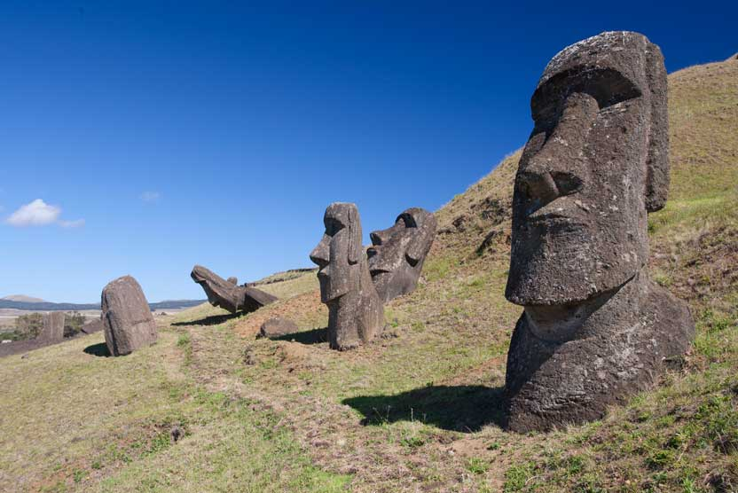 South Pacific small ship cruise photo showing Easter Island moai