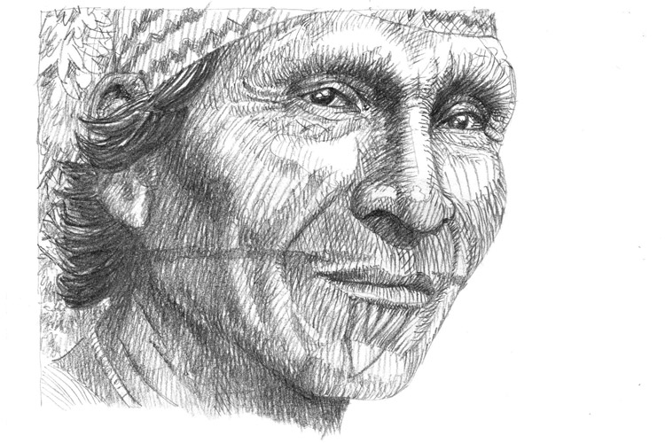 Sketch by Kevin Clement of a chief of the Choco Embera from a village in Panama's Darien region