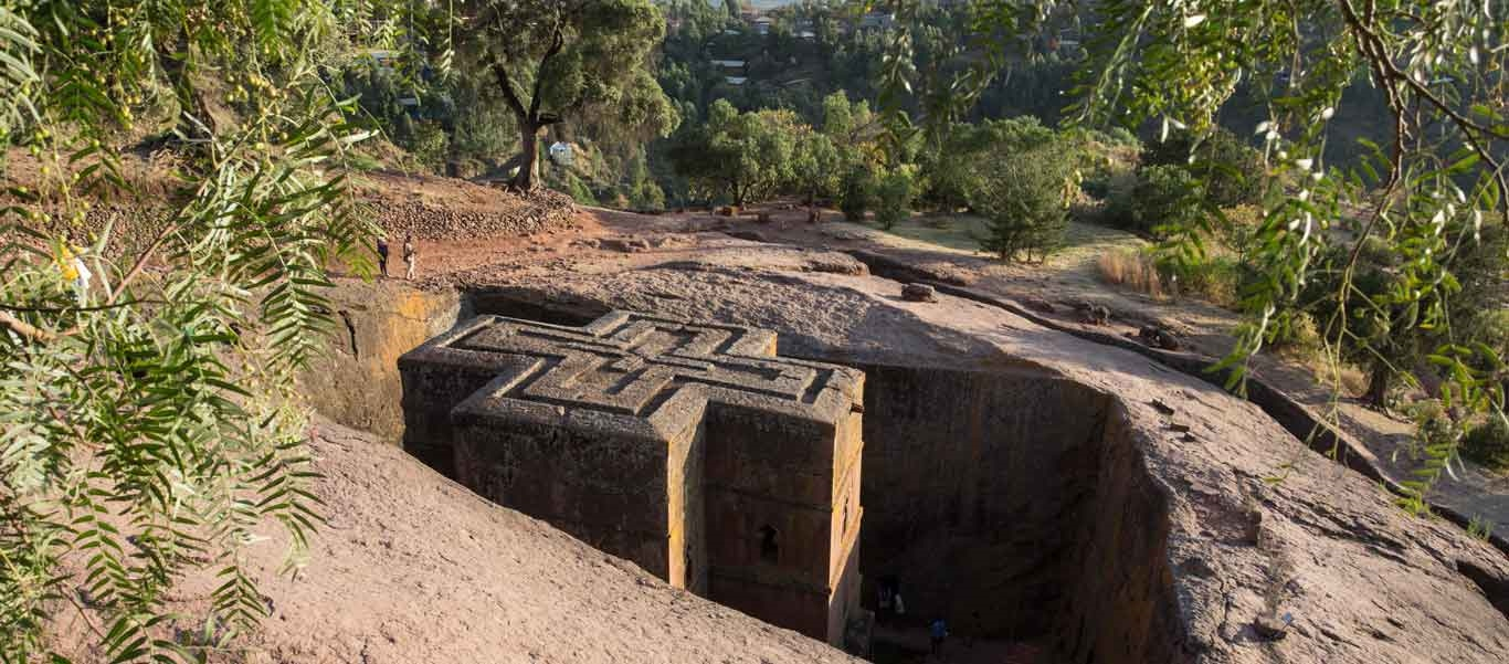 Ethiopia travel tour image showing roof of Lalibela Church of St George