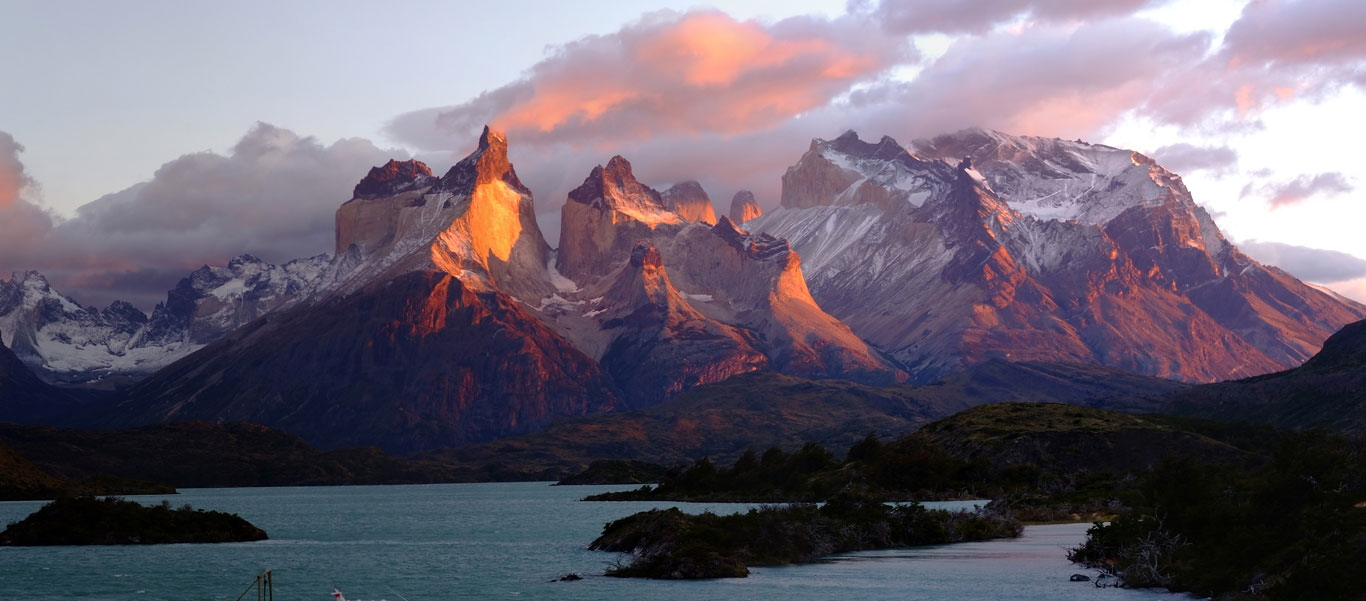 Patagonia adventure expedition slide showing Cordillera del Paine in Torres del Paine National Park