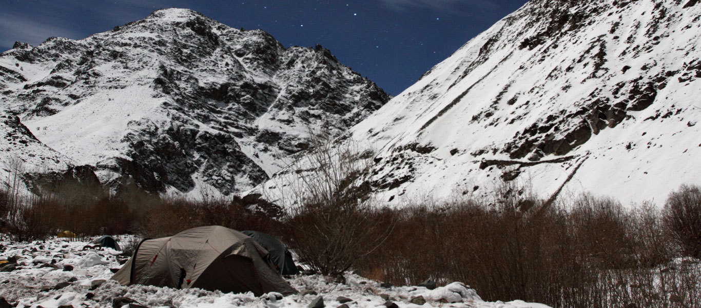Snow Leopard tracking tour slide of Husing Camp