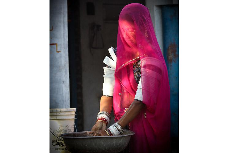 India wildlife safari slide featuring local woman working