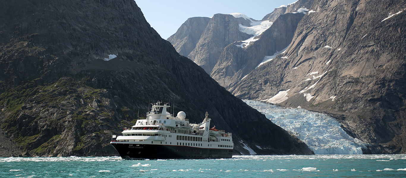 Greenland and Baffin Island tour slide shows 132-guest Silver Explorer in Arctic Fjord