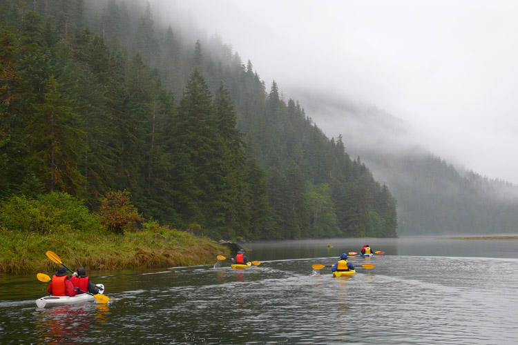 Great Bear Rainforest tour slide of kayakers traveling in Canada