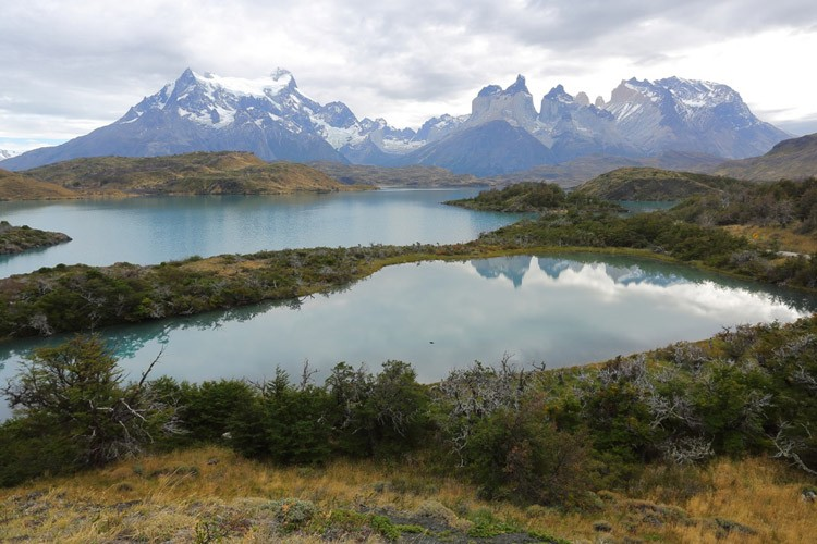 Patagonia tours slide shows Torres del Paine from Explora Lodge