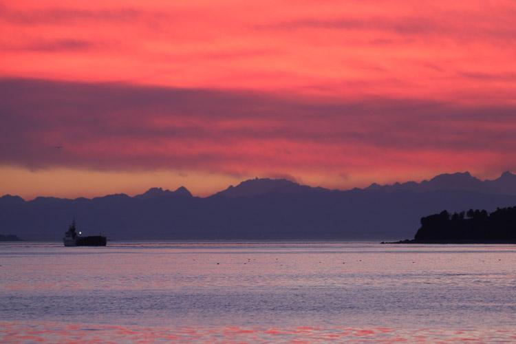 Chilean Patagonia tour image of Chacao Channel and Chiloe Island at dawn