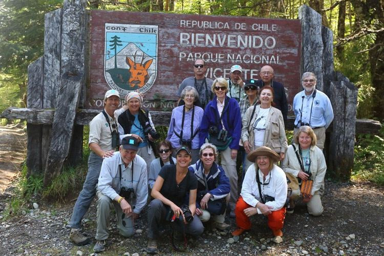 Patagonia wildlife tour image of Apex Expeditions group in front of National Park sign