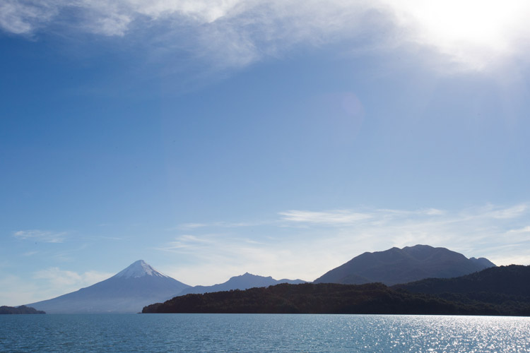 Patagonia adventure tours slide showing Lakes Crossing into Chile and Osorno Volcano