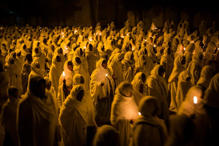Ethiopia travel slide of Axum night prayer ceremony