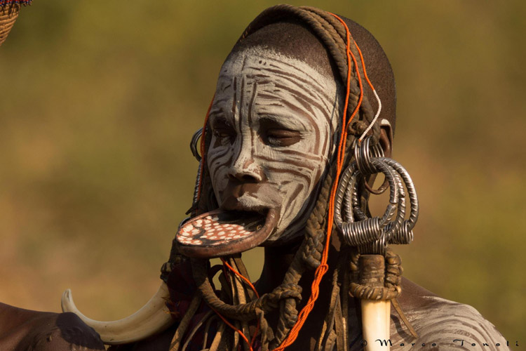 Ethiopia travel tour slide shows Mursi woman with lip plate