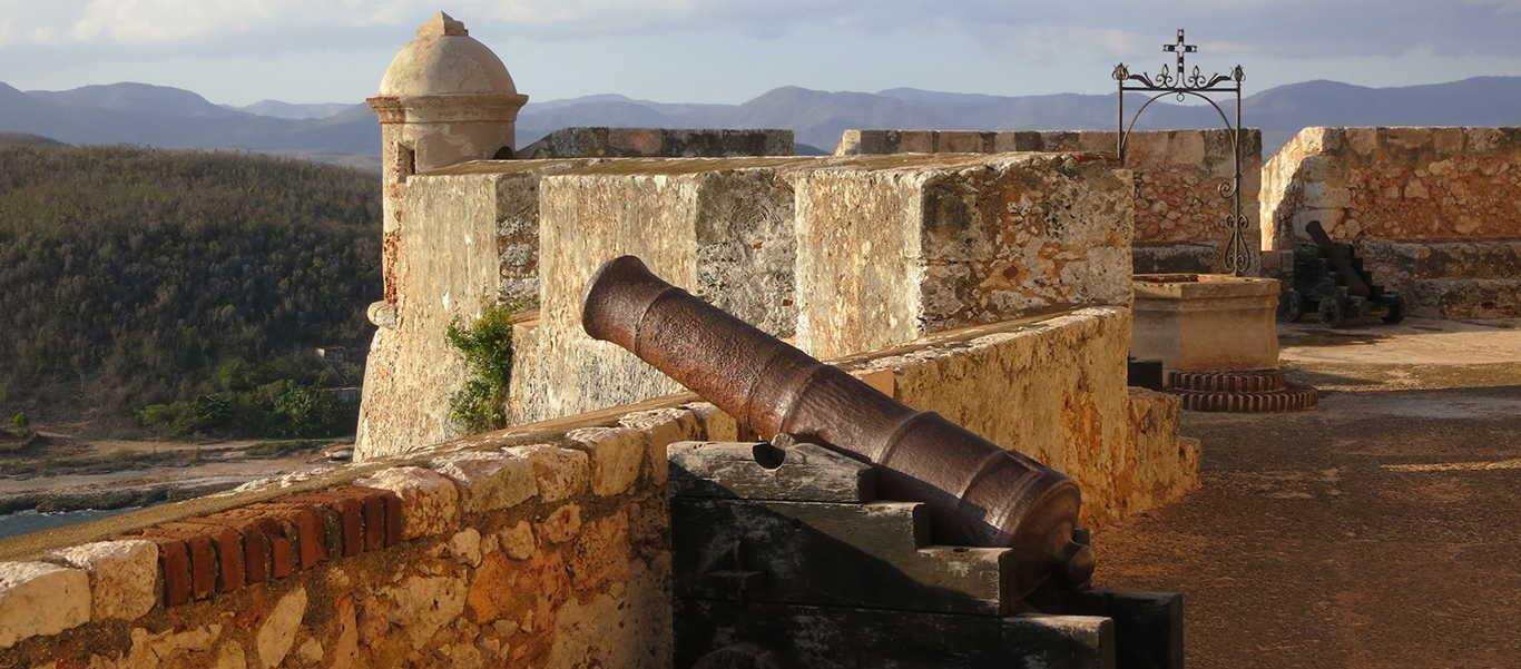 Cuba travel slide showing El Morro Fortress in Santiago de Cuba