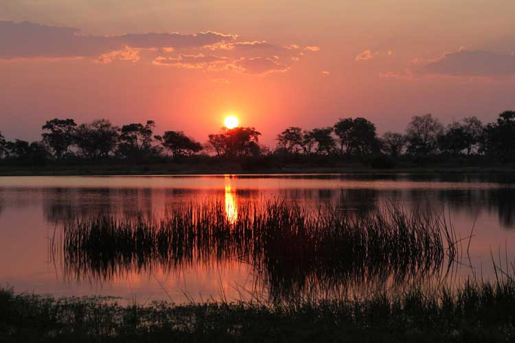 Botswana travel adventure slide of Okavanga Delta Sunset