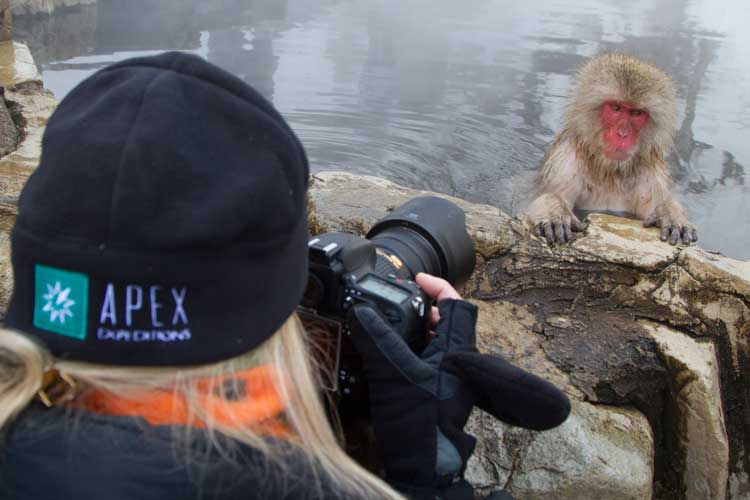 Japan tours image of Apex Expeditions leader Shirley Metz and a Japanese Macaque