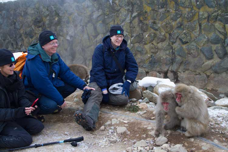 Japan wildlife tours image of Apex Expeditions travelers with Japanese Macaques