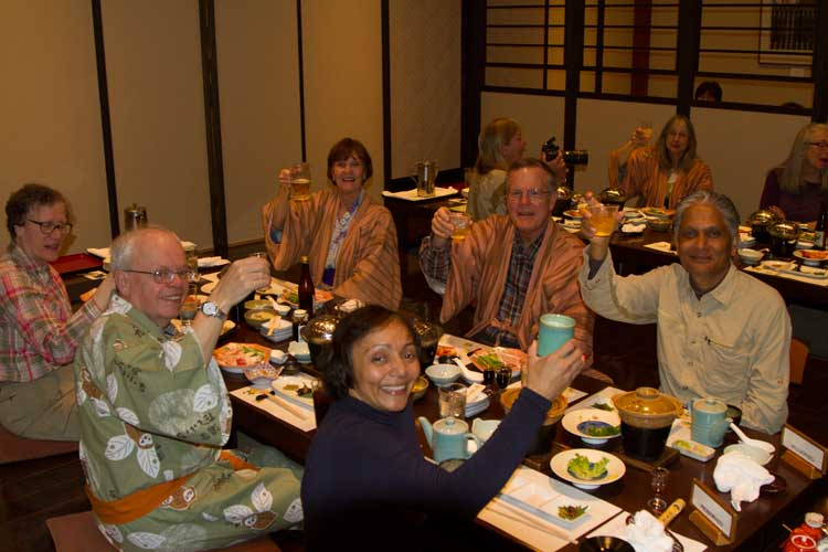 Japan tour photo of Apex Expeditions group enjoying traditional Japanese cuisine