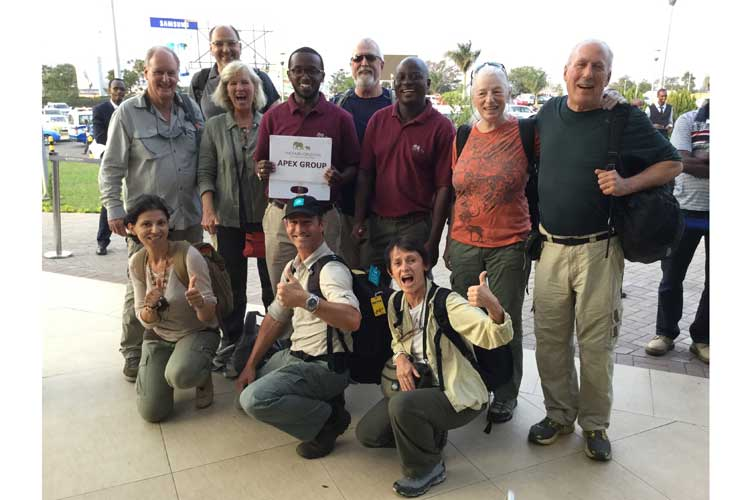 Gorilla safaris image of Apex Expeditions group arriving Kigali