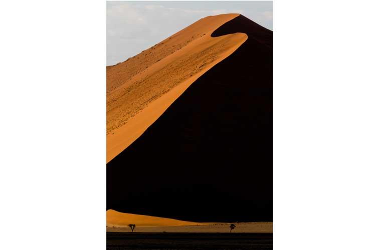 Namibia tour image of Sossusvlei dune curves at sunrise
