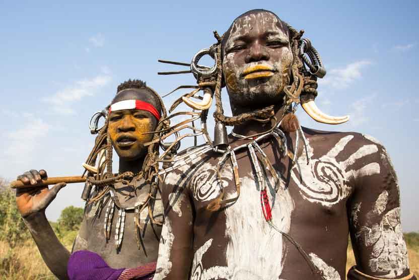 Ethiopia tours image of Mursi men in South Omo Valley