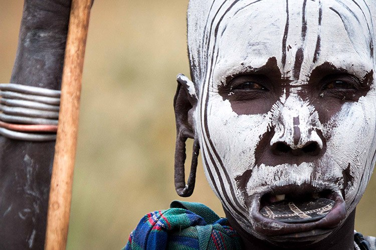 Ethiopian tours close up of South Omo face paint