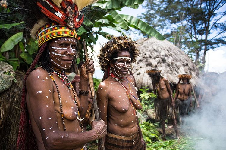 west papua people picture of dani tribe and village huts