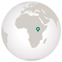 Graphic of globe with marker on Uganda