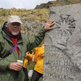 Ernest Shackleton tribute at gravesite in Grytviken on South Georgia island