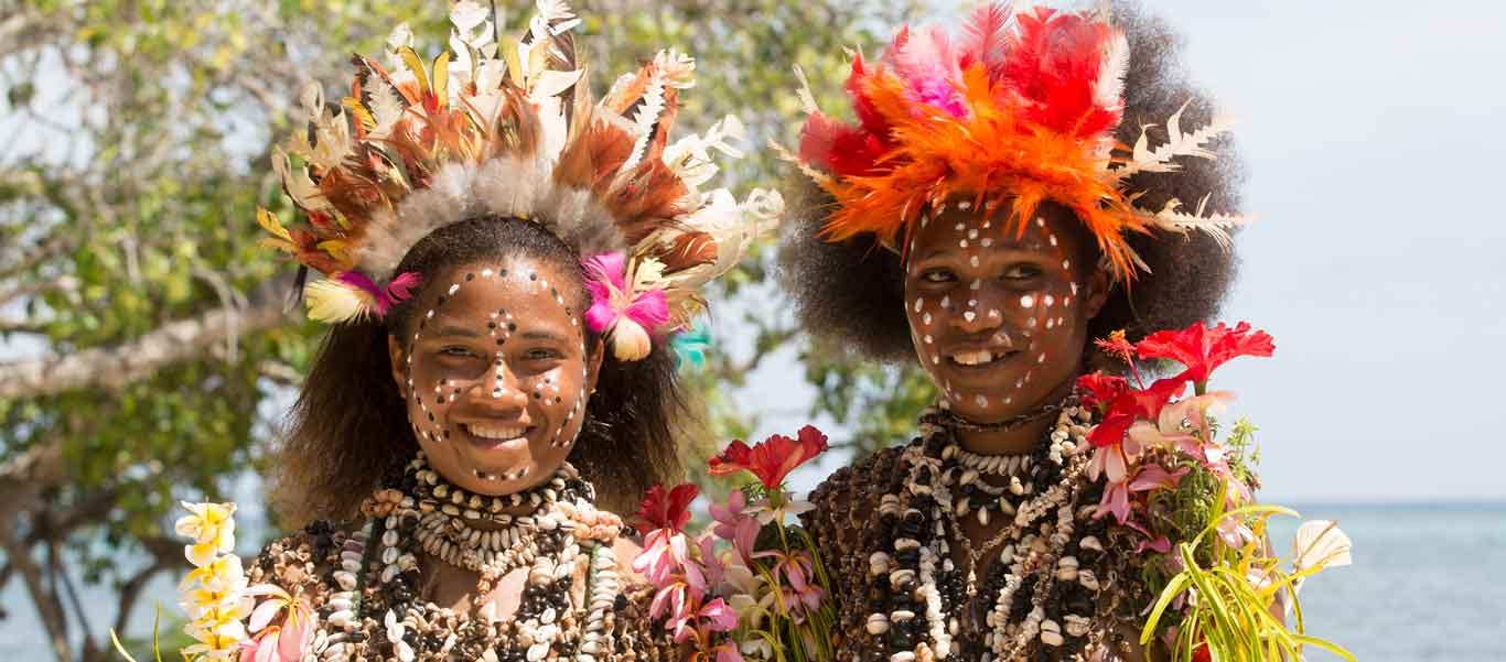 Melanesian cruise photo of dancers, Tufi, Papau New Guinea