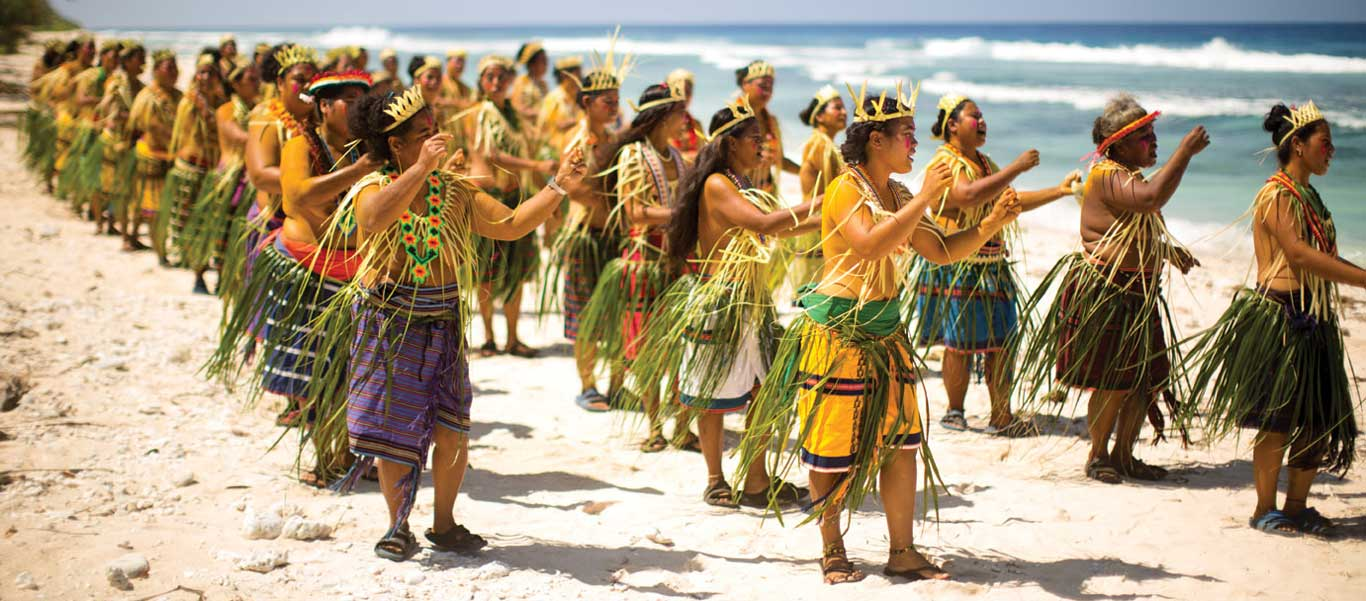 Solomon Islands cruise photo showing a welcome dance