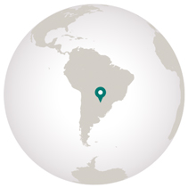 Paraguay travel graphic of globe