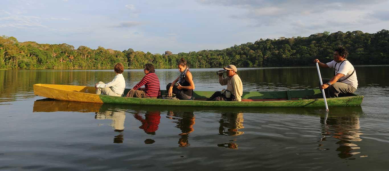 Bolivia culture and nature photo of canoe ride at Chalalan Eco Lodge