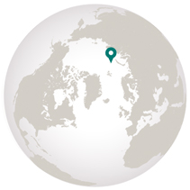 Franz Josef Land graphic of location on globe