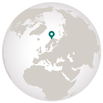 Graphic of globe with Norway adventure tour pointer