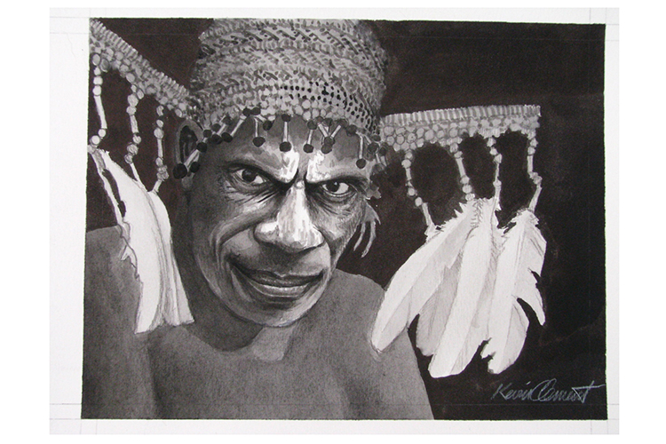 Illustration of villager with headdress from collection of Papua New Guinea images