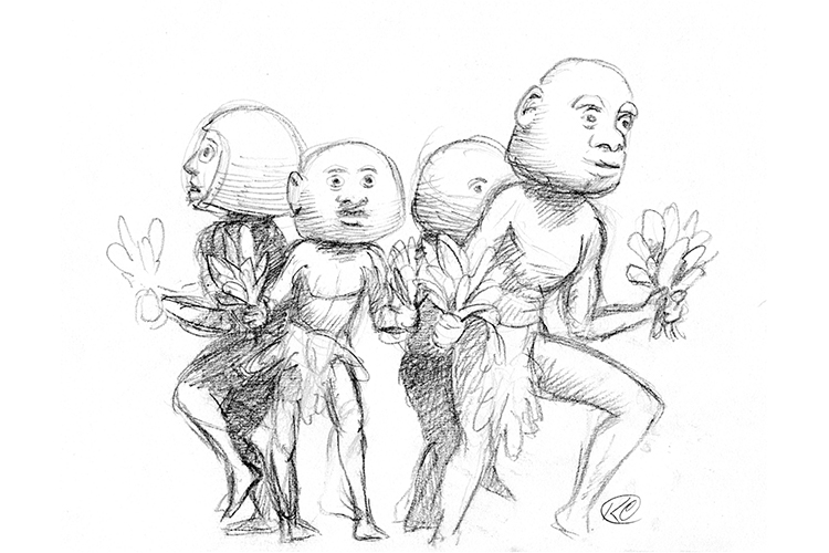 Illustration of Asaro mudmen dancers from collection of Papua New Guinea images
