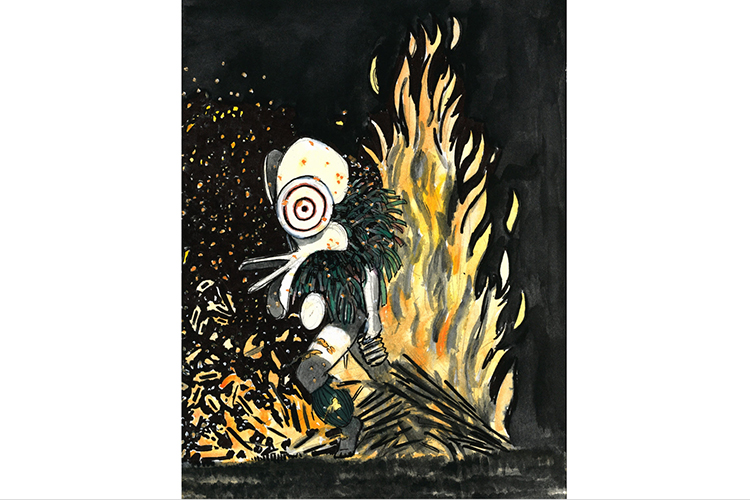 Illustration of Baining fire dancer from collection of Papua New Guinea images