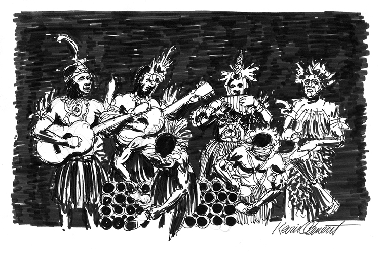 Illustration of bamboo band at Karawari from collection of Papua New Guinea images