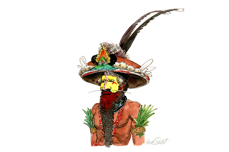 Illustration of Huli wigman from collection of Papua New Guinea images