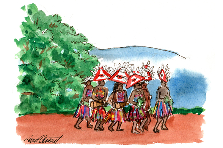 Illustration of tumbuna sing-sing dancers from collection of Papua New Guinea images