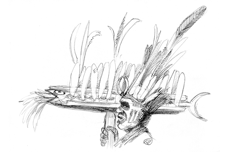 Illustration of villager in fish dance from collection of Papua New Guinea images