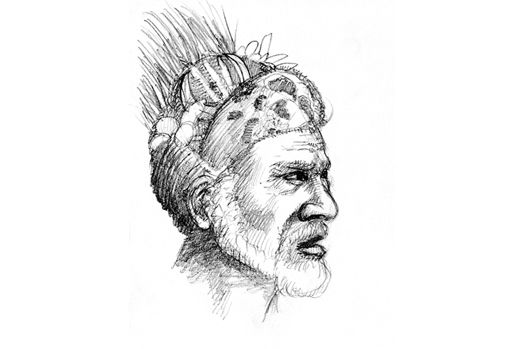 Illustration of villager from collection of Papua New Guinea images