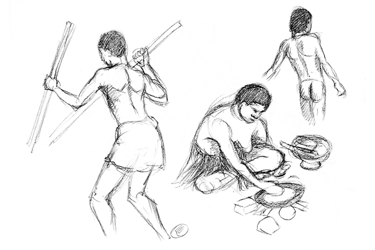 Illustration of sago processing on Karawari from collection of Papua New Guinea images